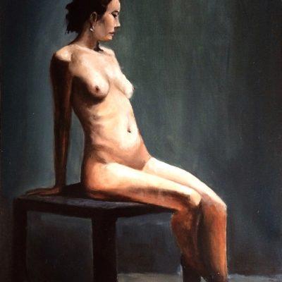 Műtermi akt KINVA olajfestmény 30 x 40 cm, olaj, farost kinva festmény Magángyűjteményben